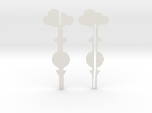 Cake Topper - Clouds & Balloon #3 in White Strong & Flexible