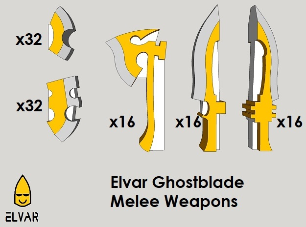 6mm Elvar Ghostblade Weapons (112pcs) in Frosted Ultra Detail