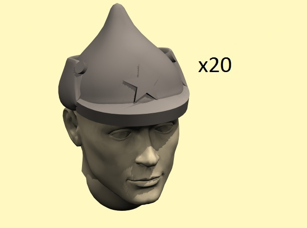28mm Budyonovka caps in Smoothest Fine Detail Plastic