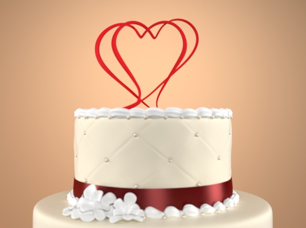 Two Hearts Merged Cake Topper  in Red Strong & Flexible Polished