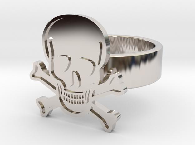 Skull & Crossbones Ring in Rhodium Plated: 10 / 61.5