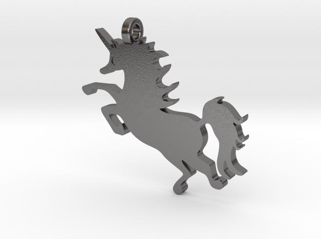 Unicorn Pendant in Polished Nickel Steel