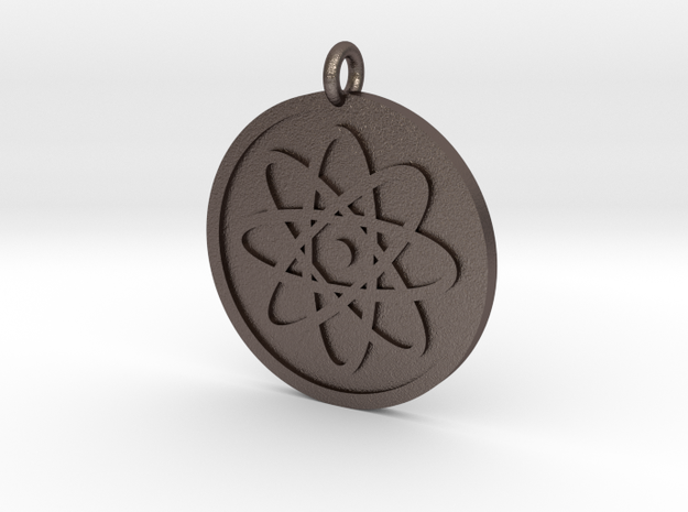 Atom Pendant in Polished Bronzed Silver Steel