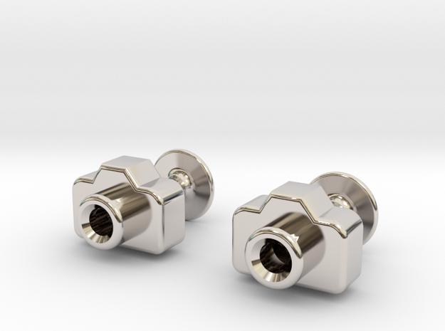 Mini DSLR Camera - Cufflinks in Rhodium Plated Brass