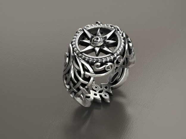 Trompe L'Oeil Ring in Polished Silver
