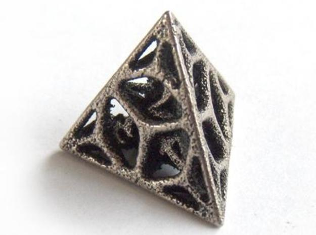 Cage Die4 in Polished Bronzed Silver Steel