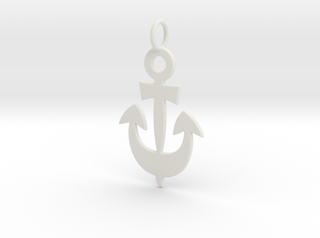Anchor Symbol Pendant Charm in White Natural Versatile Plastic