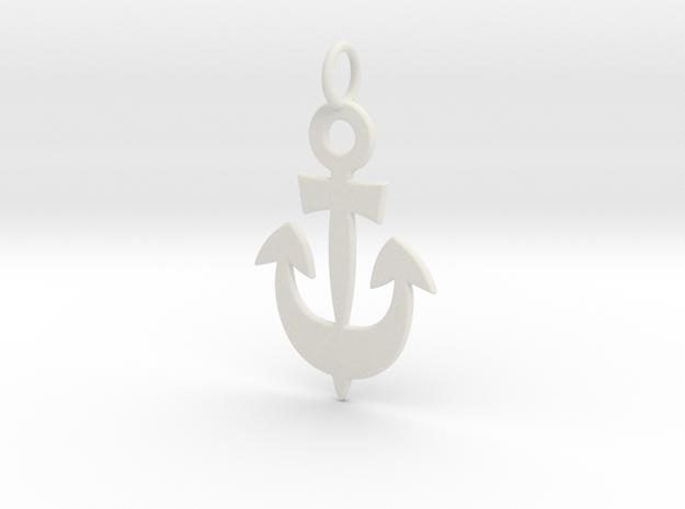 Anchor Symbol Pendant Charm in White Natural Versatile Plastic