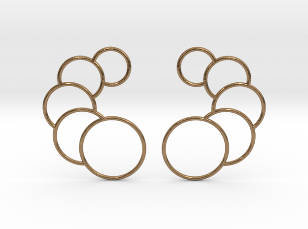 Overlapping Circles Earrings in Raw Brass