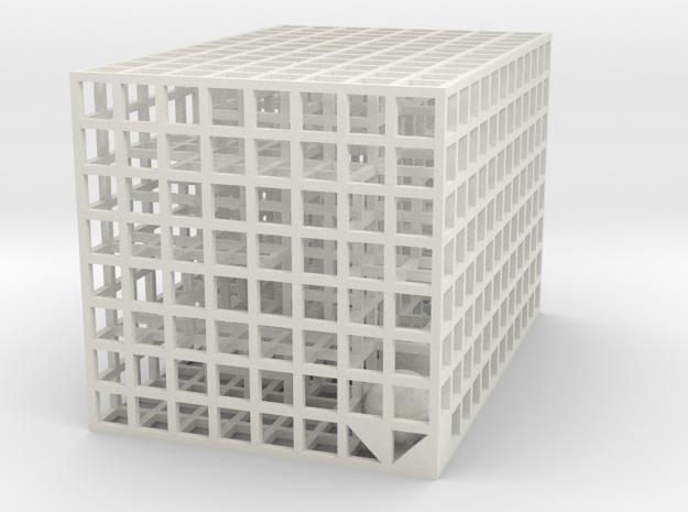 Maze 09, 6x6x4 in White Natural Versatile Plastic: Medium