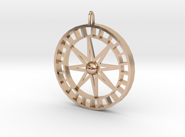 Compass Pendant  in 14k Rose Gold Plated Brass