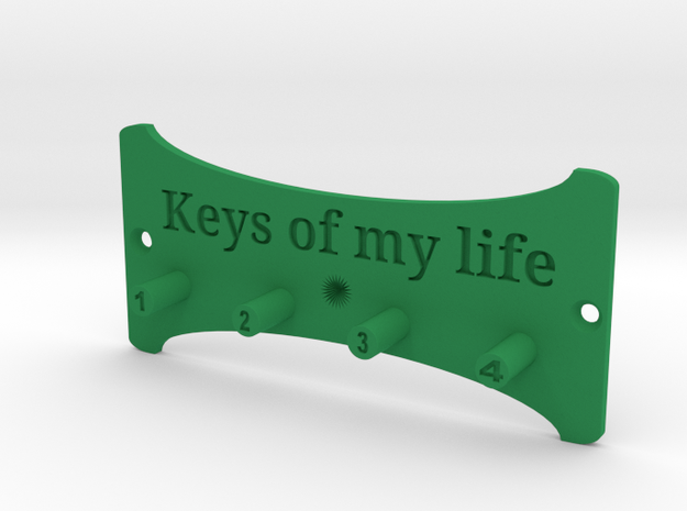 Keys Of My Life Key Holder in Green Strong & Flexible Polished