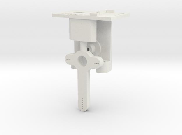 HO LQ Signal Mech - 1 Arm - Brass Post in White Natural Versatile Plastic