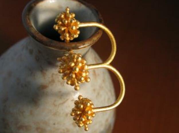 Triple Starburst Ring 3d printed gold matte