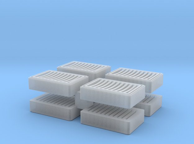 Rectangluar storm sewer grate - dished surface in Smoothest Fine Detail Plastic
