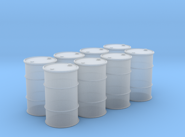 HO 55 Gallon Drum set of 8 in Frosted Ultra Detail
