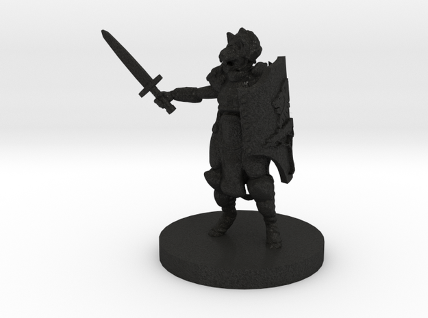 Cat Person Paladin (28mm Scale) in Black Acrylic