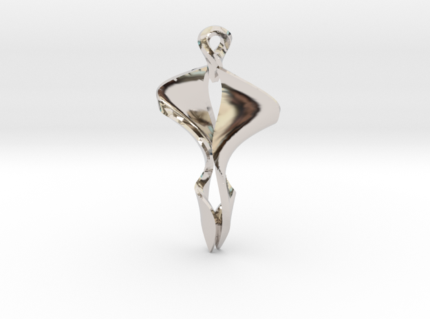 Pendant, Stylized 4 in Rhodium Plated Brass