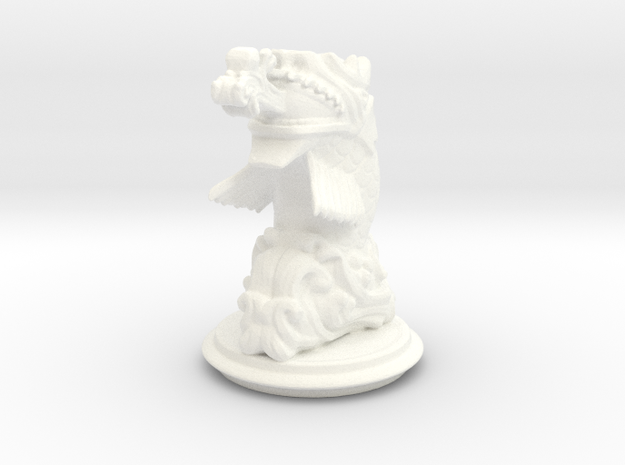 Chinese Dragonfish Knight in White Processed Versatile Plastic