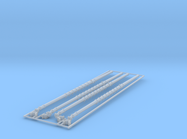 1/96 RN Cruiser 40ft Lower Boat Booms x4 in Smooth Fine Detail Plastic