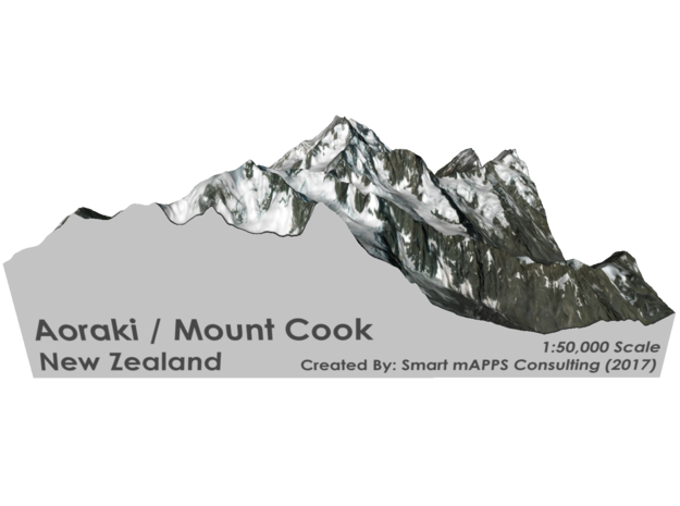 "Aoraki / Mount Cook Map, New Zealand: 6"" in Coated Full Color Sandstone"