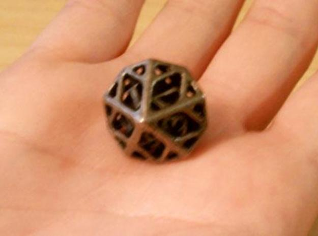 Cage Die10 3d printed In stainless steel and inked.