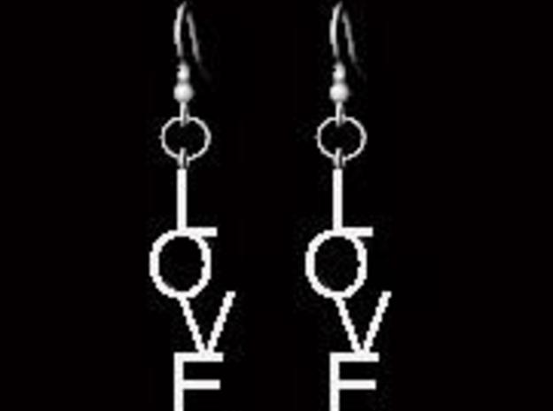 Love Earrings Small  3d printed Description