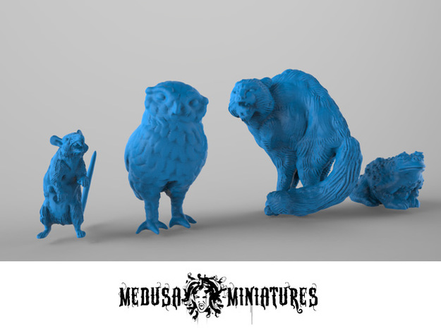 Four Familiars for 28mm minis - Rat, Cat, Toad, Ow in Smooth Fine Detail Plastic