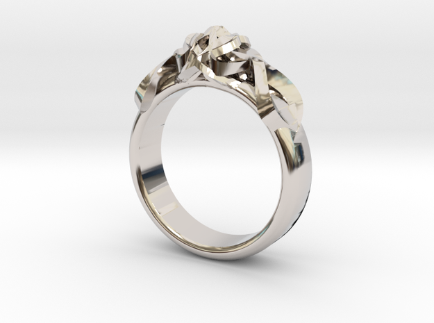 Designer Ring #2 in Rhodium Plated Brass: 9 / 59