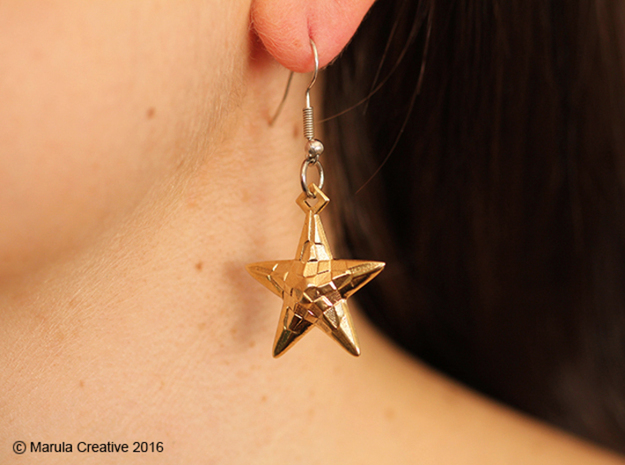 Stylised Sea Star Earring in Natural Silver