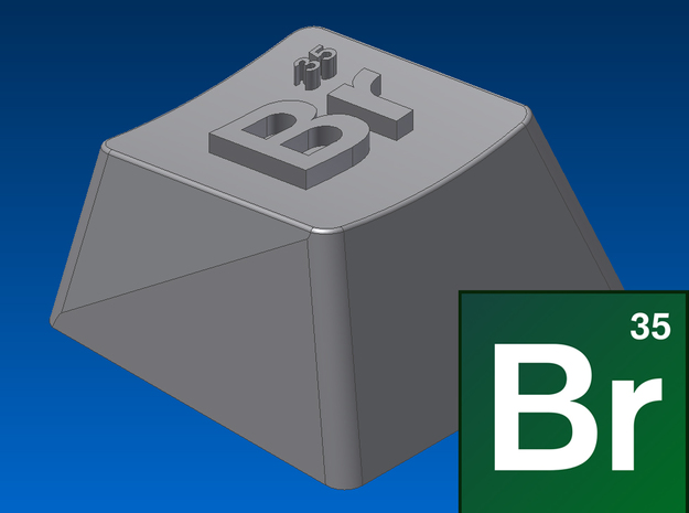 "Breaking Bad - ""Br"" Keycap (R1, 1x1) 3d printed"