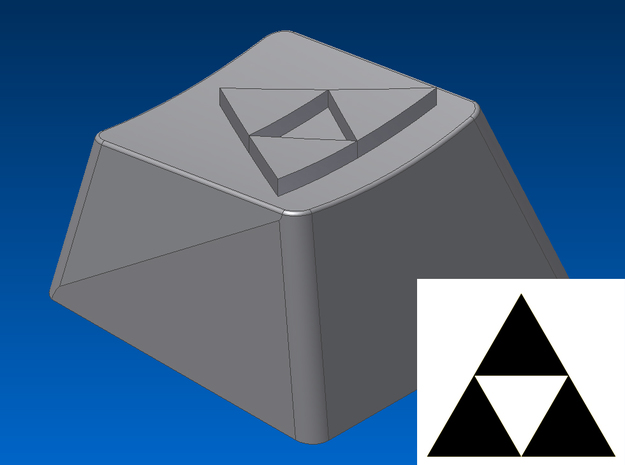 Legend of Zelda - Triforce Keycap (R1, 1x1) in White Natural Versatile Plastic