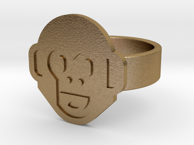 Monkey Ring in Polished Gold Steel: 10 / 61.5