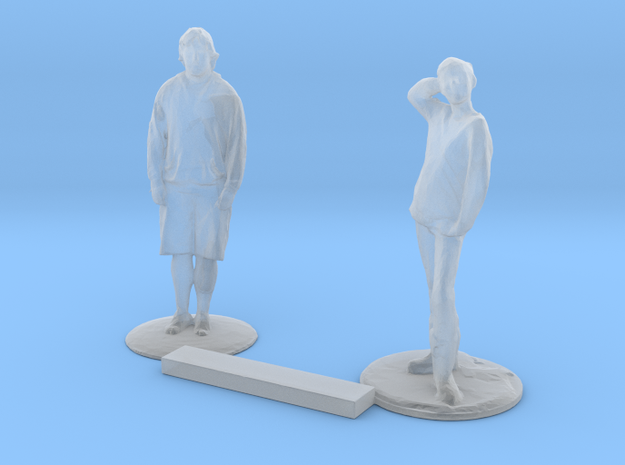 S Scale People Standing 2 in Smooth Fine Detail Plastic