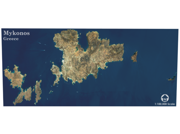 Mykonos Map, Greece in Matte Full Color Sandstone