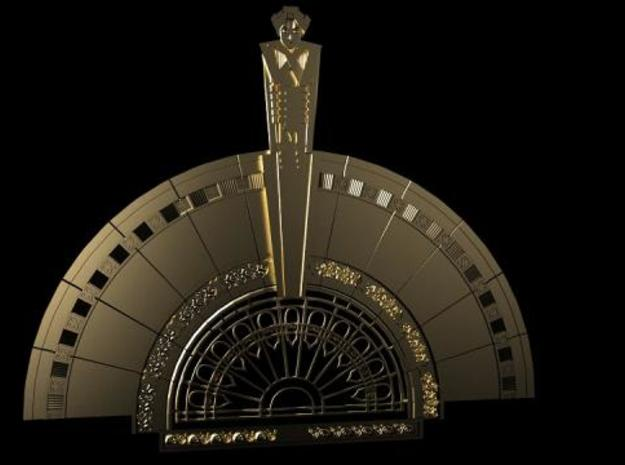 Art Deco brooch 3d printed Image rendered with Luxrender