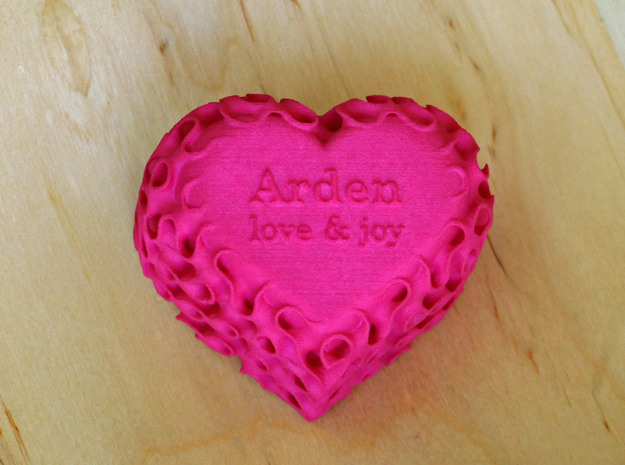 Gyroid Heart Box - Custom Lid in Pink Processed Versatile Plastic