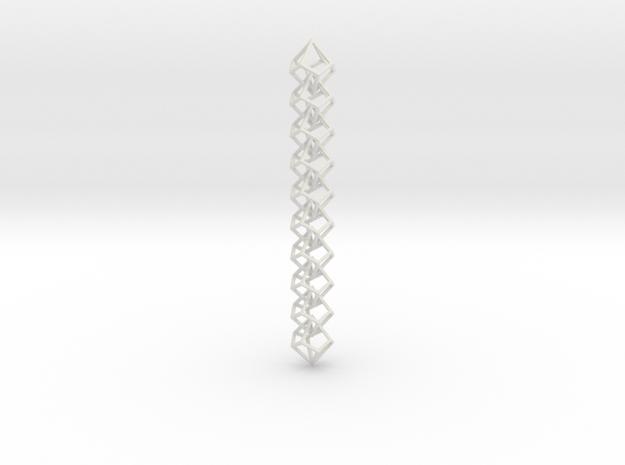 Anti-Diamond Chain, 10 Links in White Natural Versatile Plastic