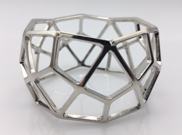 Catalan Bracelet - Deltoidal Hexecontahedron in Rhodium Plated: Medium