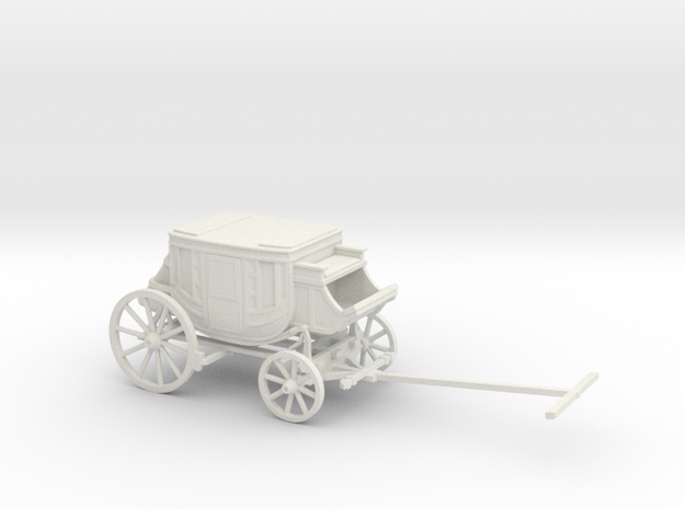S Scale Stagecoach in White Natural Versatile Plastic