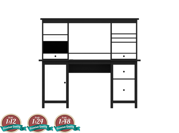 Miniature HEMNES Workstation - Full Version - IKEA in White Strong & Flexible: 1:12