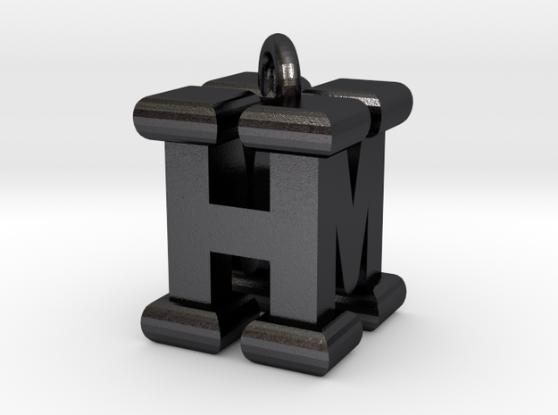 3D-Initial-HM in Polished and Bronzed Black Steel