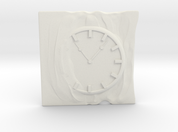 Clamp for business card with clock and cloth. in White Strong & Flexible