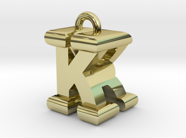 3D-Initial-KR in 18k Gold Plated Brass