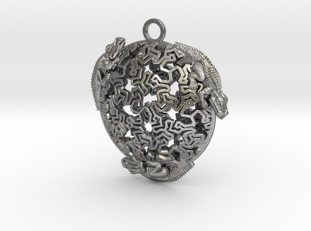 Reptiles Pendant, 1.75 inch. in Natural Silver