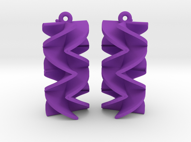 Sawtooth Rotini Earrings in Purple Strong & Flexible Polished