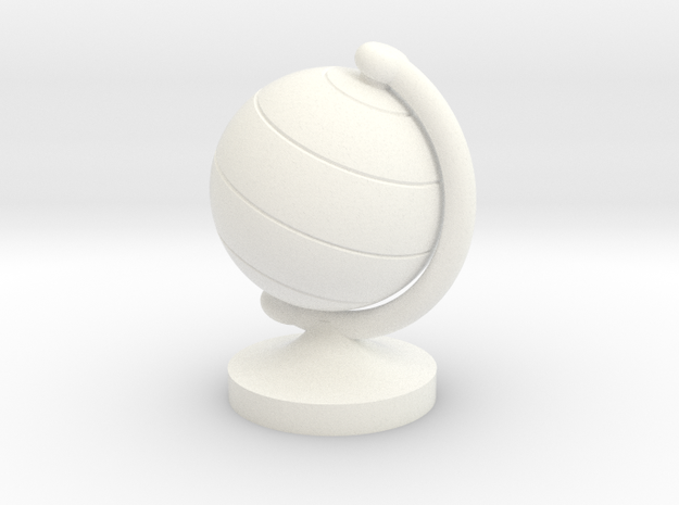 Dollhouse Miniature Student's Globe (9 mm diameter in White Processed Versatile Plastic