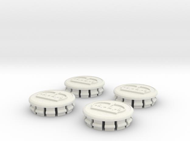 Prius G3 center caps - King  in White Natural Versatile Plastic