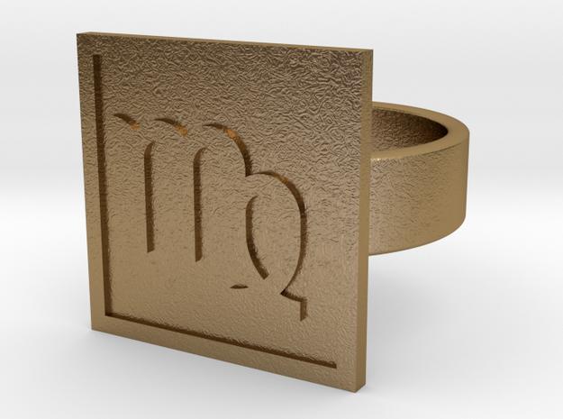 Virgo Ring in Polished Gold Steel: 10 / 61.5
