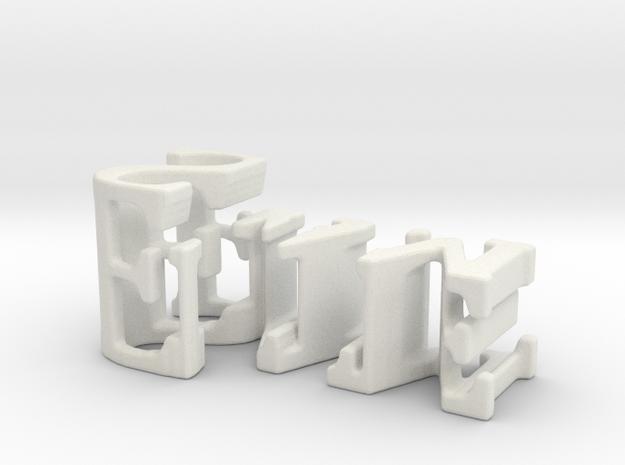 3dWordFlip: Ellie/Sam in White Natural Versatile Plastic